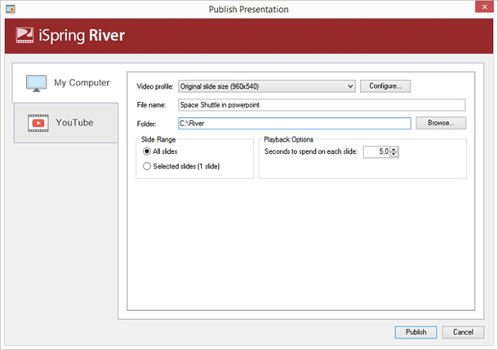 ispring river ppt to video converter
