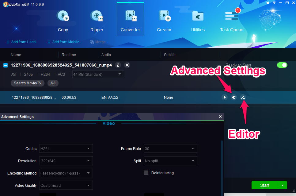 dvdfab video converter advanced settings